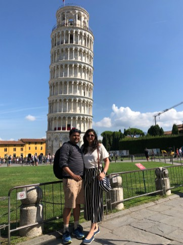 At the leaning tower of Pisa