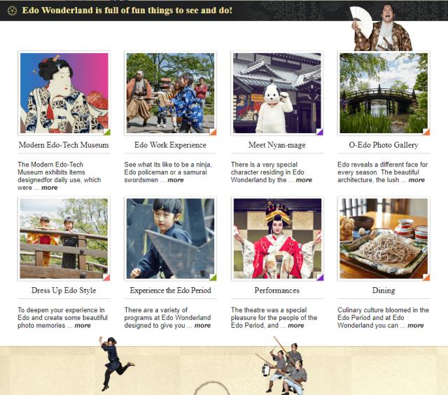 apa saja yang terdapat di Edo Wonderland Jepang
