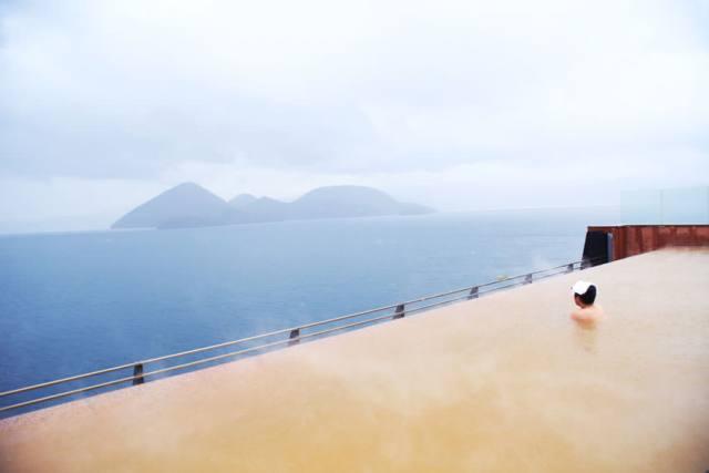 Onsen di dengan melihat Pemandangan Danau Toya di Hokkaido