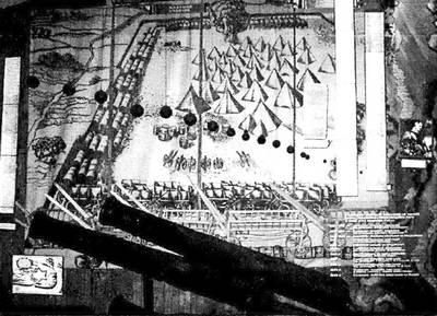 Дніпропетровський історичний музей імені Д. Яворницького. Гравюра похідного козацького табору, оточеного трьома рядами возів та козацькі гармати