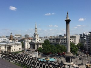 View over Trafalgar Square from Vista rooftop bar