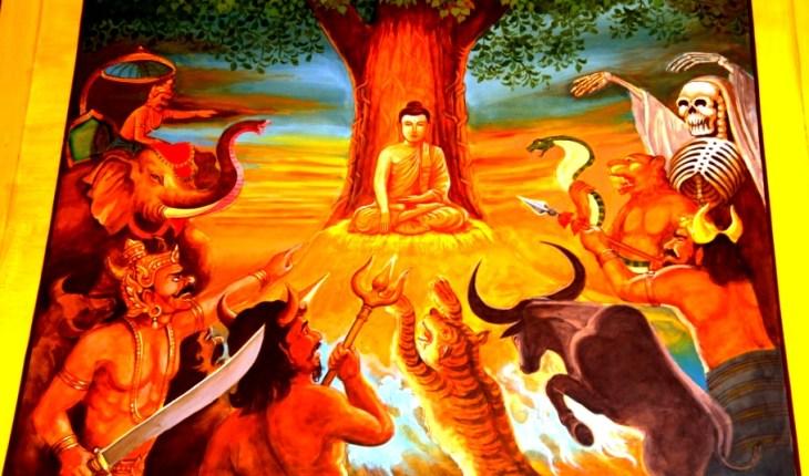 звери и демоны перед буддой