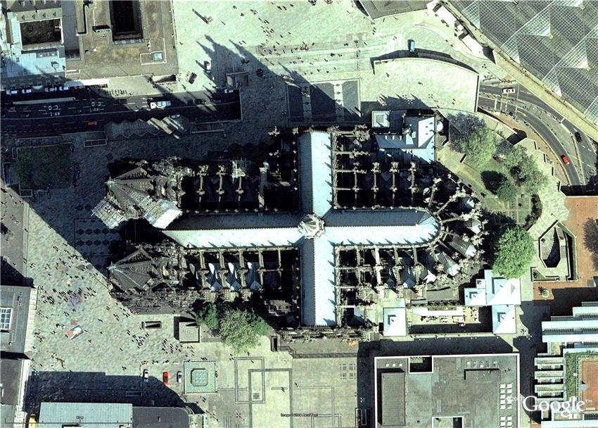 вид сверху на кельнский собор
