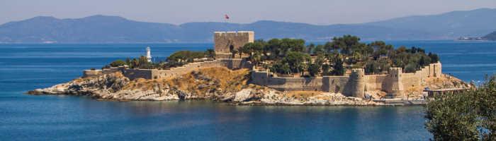 Guvercinada Castle next to Kusadasi Port