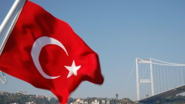 Turkish flag over Bosphorus Istanbul