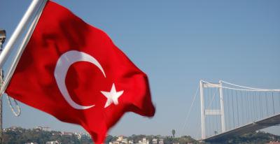 Turkish flag over Bosphorus Istanbul
