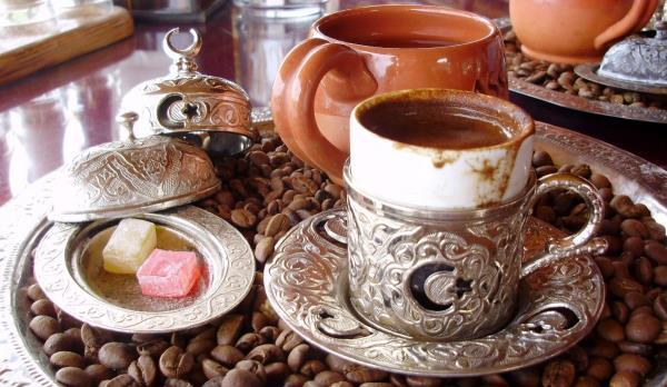 Turkish Delight Served Alongside Turkish Coffee