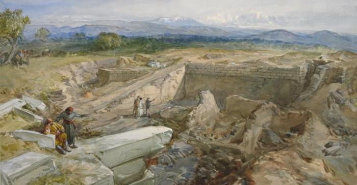 William Simpson, Excavations at Hissarlik. Watercolour, 1877