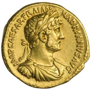Aureus, a golden coin, from Hadrian's Era