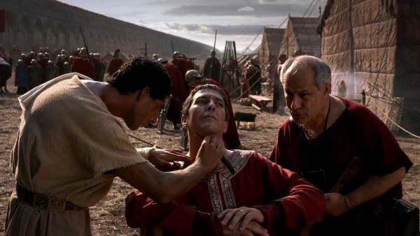 Caesar getting shaved, Source HBO series Rome