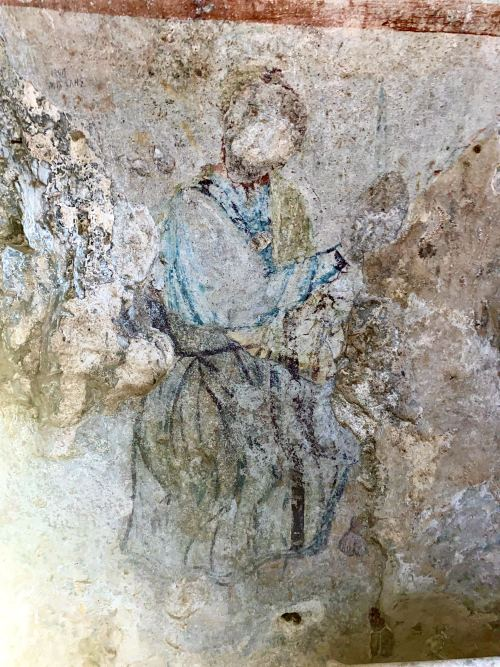 Fresco showing Binding of Isaac on the wall of the Grotto of Apostle Paul in Ephesus