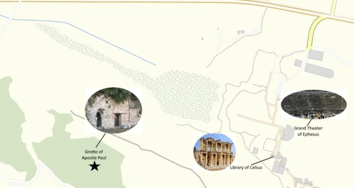 Map to the Grotto of Apostle Paul in Ephesus