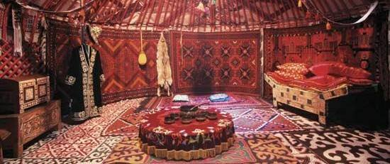 Inside a Turkish Yurt Tent