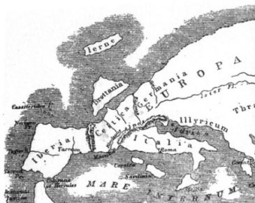 Map of Europa According to Strabo