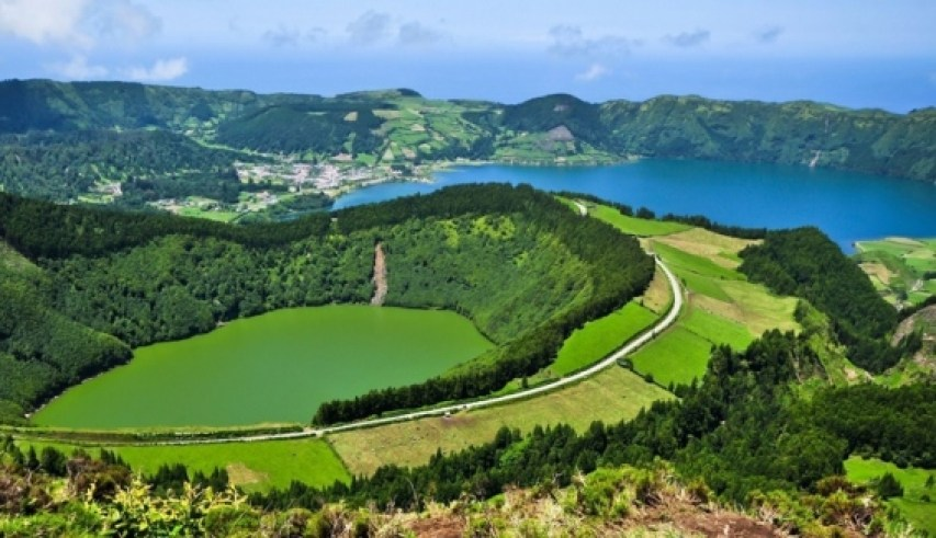 hiking on sao miguel island in azores view of lakes on sete cidades