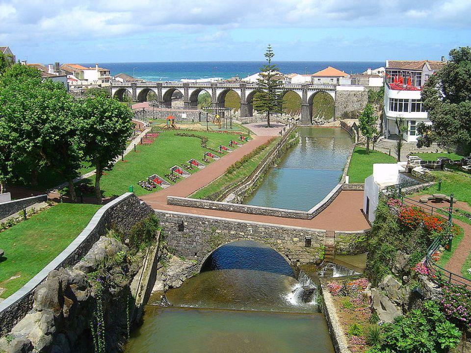 Ribeira Grande City Sao Miguel Island Downtown Bridge