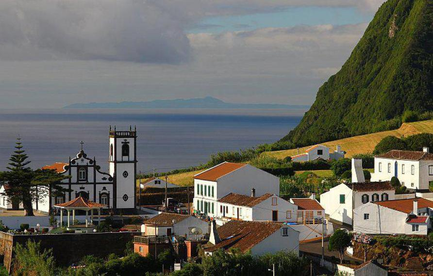 santa maria acores island portugal church and beach azores