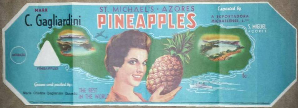 pineapple label for 1950s from Sao Miguel Island Azores