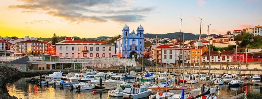 angra city on Terceira island sunset marina