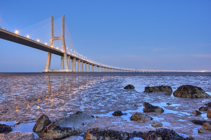 Vasco da Gama bridge at sunset, Lisbon, Portugal