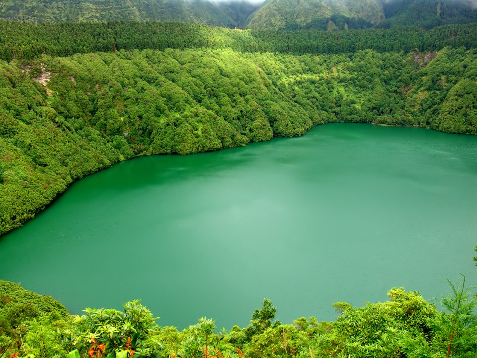 Lake on Sao Miguel St Michaels Island in the Azores