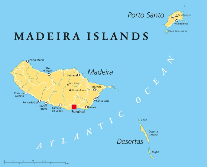Madeira Islands Political Map