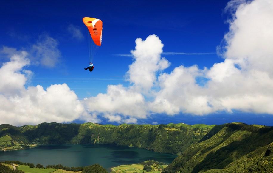 Paragliding over Sete Cidades, Sao Miguel Island, Azores,
