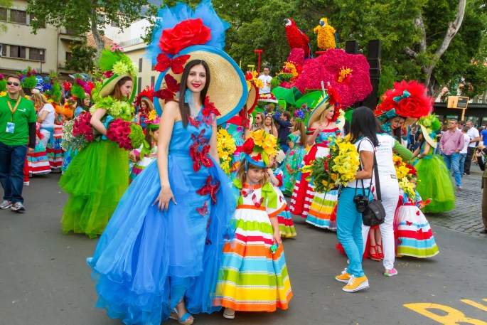 Participants of the Flower Festival, Madeira Island.