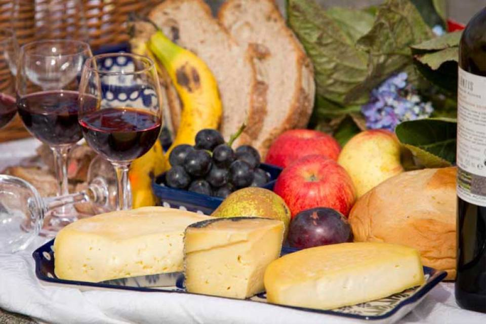 wine and fruits from the azores islands portuguese food
