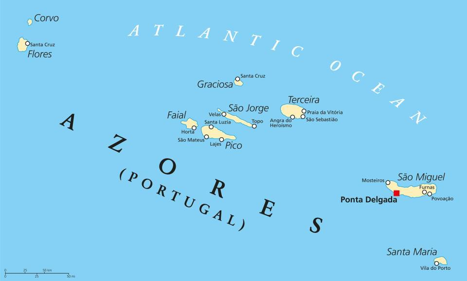 ilha dos acores map of the Azores islands