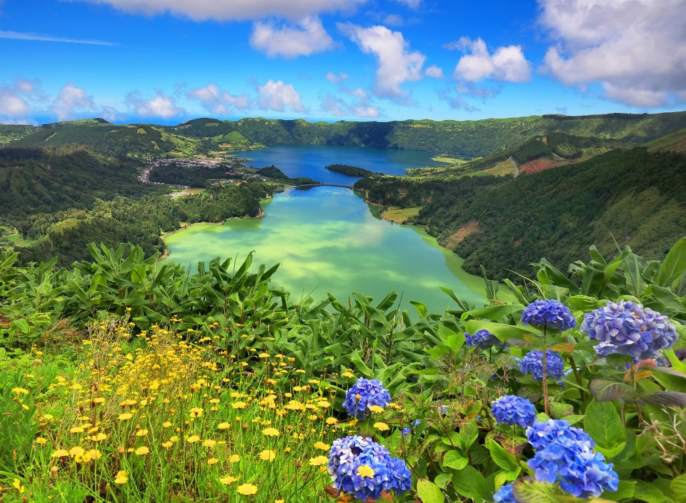 Lanscape from the volcanic crater lake of Sete Citades in Sao Miguel Island