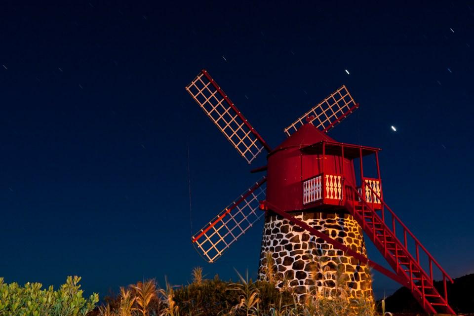 Azores night sky stars moon