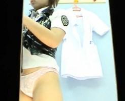 【無修正盗撮動画】風俗のパネル撮影…更衣室で着替える10代の新人風俗嬢のモロ見えコス着替えww