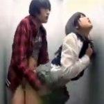 【トイレセックス盗撮動画】公衆便所で援交するマジメそうな女子校生…2万円追加で生本番おkww
