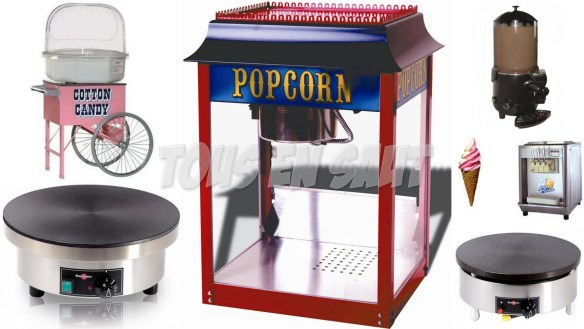 Machines à barbes-à-papa, glaces à l'italienne, pop-corn, crêpes, etc.