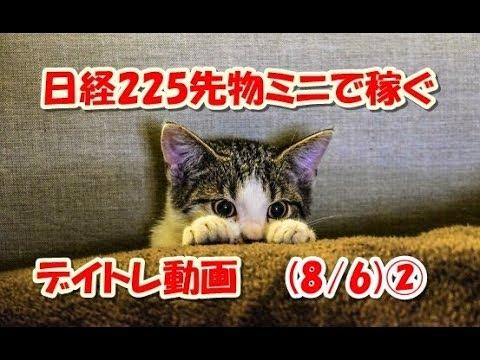 日経225先物ミニで稼ぐ~デイトレ動画(8/6)②