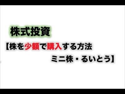 【ミニ株・るいとう(株主累積投資)】株式投資 ファイナンシャルプランナー FP