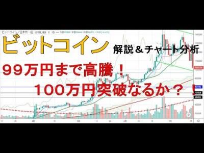 【仮想通貨 ビットコイン(BTC)】99万円まで高騰!100万円突破なるか?!今後のシナリオをチャート分析1.17