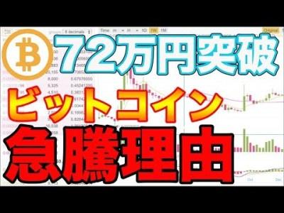 【急騰】ビットコイン72万円突破!まだまだ高騰している5つの理由とは⁉︎