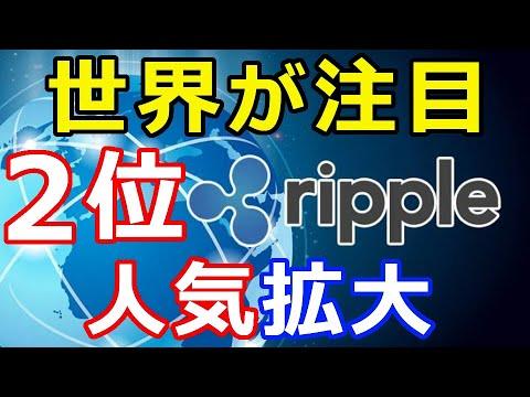 仮想通貨リップル(XRP)リップル社2位!『世界が注目』機関投資家、個人投資家に人気拡大
