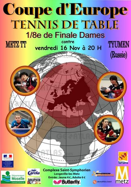 Coupe d 39 europe tennis de table dames metz 2012 - Championnat d europe de tennis de table ...