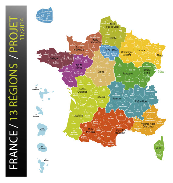 La carte de France à 13 régions - Source : Ministère de l'Intérieur
