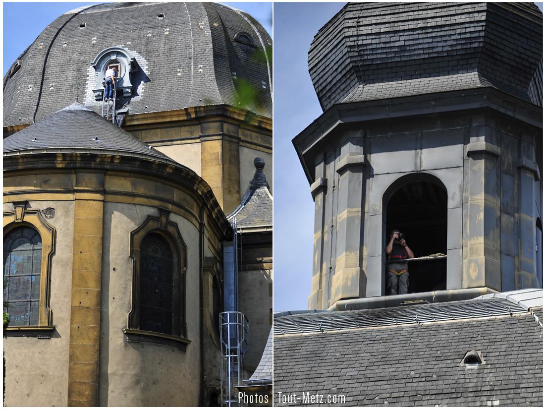 Pour accéder à l'intérieur de la coupole de la chapelle St Charles Borromée et, plus haut encore, à son clocher (...et réaliser les clichés qui vont suivre), le seul passage existant se trouve être une petite lucarne extérieure suspendue à une vingtaine de mètres de haut, accessible via une série d'échelles à flanc de façade. Ces prises de vues ont nécessité de s'équiper d'un baudrier pour sécuriser la montée.