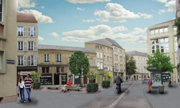 Le projet pour la place Saint-Nicolas, l'un des maillons de la liaison entre le centre ville et le quartier de l'Amphithéâtre à Metz. Source : ville de Metz