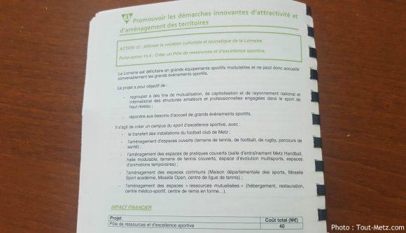 La mention liée au développement d'une infrastructure sportive capable d'héberger des événements internationaux dans le pacte Lorraine.