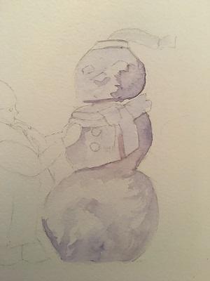 Peindre le bonhomme de neige à l'aquarelle