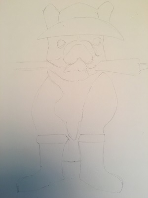 Je dessine ensuite la forme générale du chien