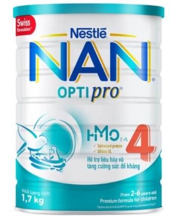 Sữa dinh dưỡng cho bé 1.7kg Nan Optipro 4 HMO từ 2-6 tuổi
