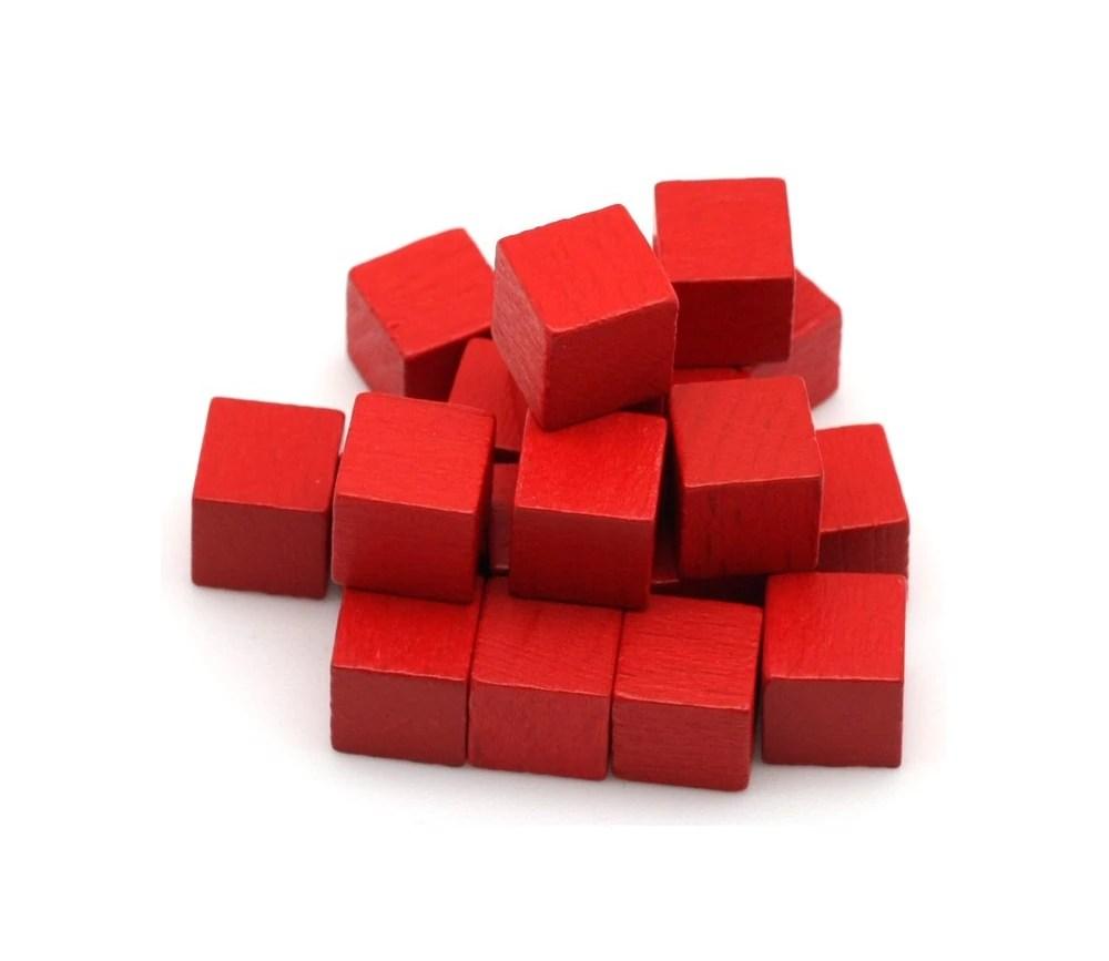petits cubes en bois de 1 cm de cote lot de 20 colore