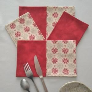 Fleurs graphiques - Rouge-beige-gris